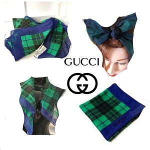 Vintage GUCCI Red Green Plaid Scarf